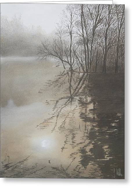 Trees Reflecting In Water Greeting Cards - Reflections Greeting Card by John Hebb