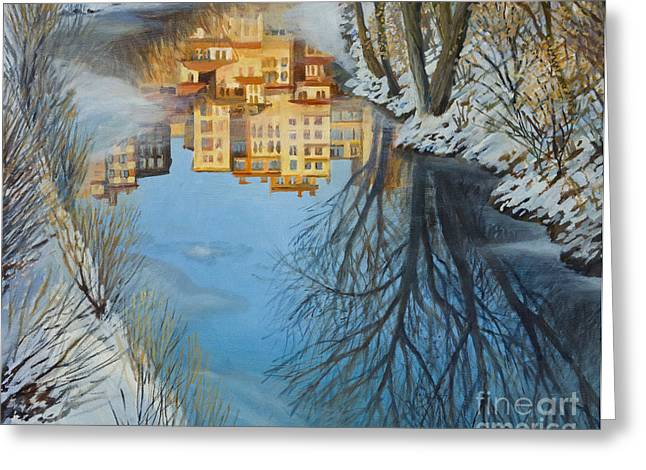 Snowy Stream Greeting Cards - Reflections Greeting Card by Kiril Stanchev