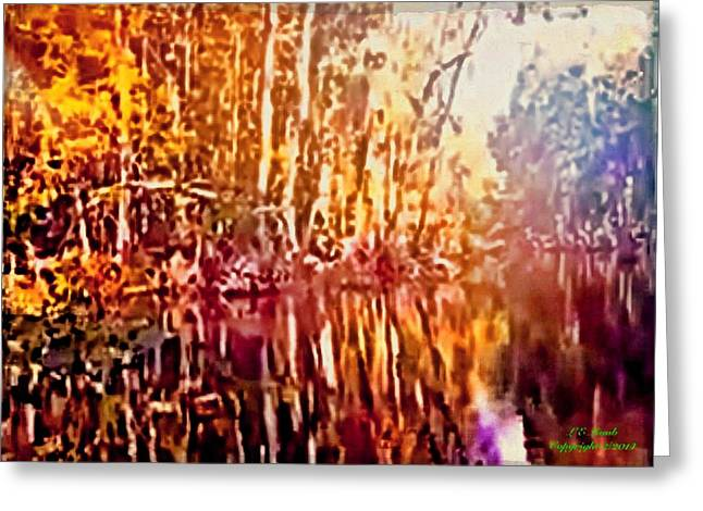 Tree Leaf On Water Digital Art Greeting Cards - Reflections l Greeting Card by Larry Lamb