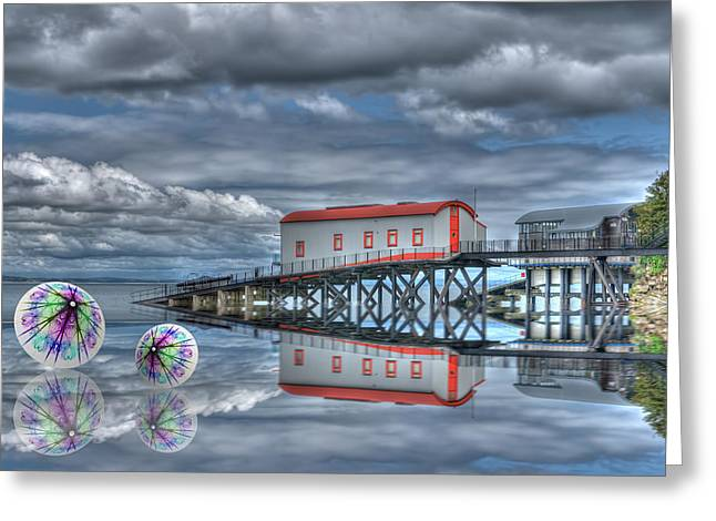 Smoking Trail Greeting Cards - Reflections Lifeboat Houses and Smoke Cones Greeting Card by Steve Purnell