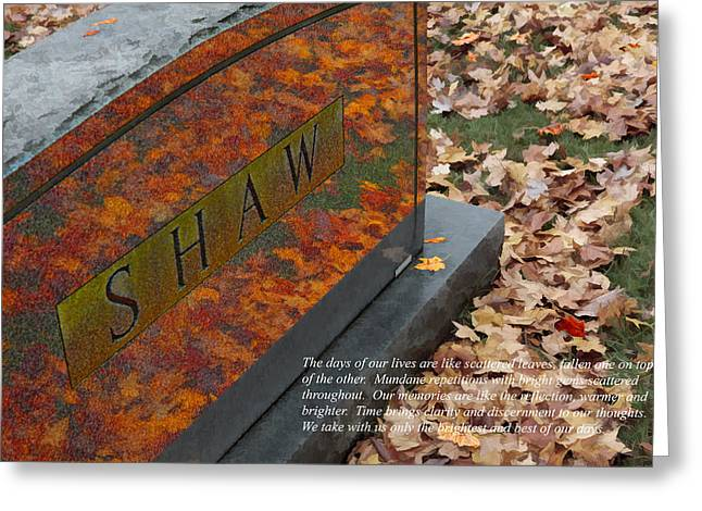 Autumn Graveyard Greeting Cards - Reflections Like Memories II Greeting Card by Dan Carmichael