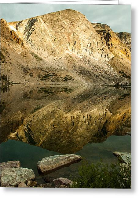 Geobob Greeting Cards - Reflections Mirror Lake Snowy Range Wyoming Greeting Card by Robert Ford