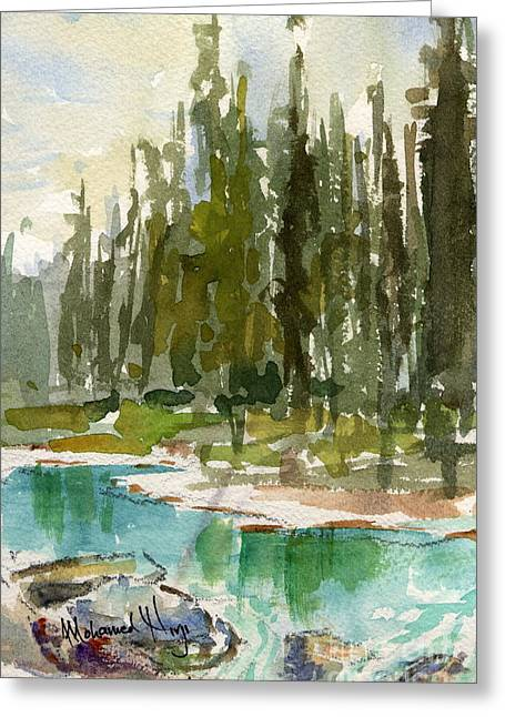 Park Scene Paintings Greeting Cards - Reflections Greeting Card by Mohamed Hirji