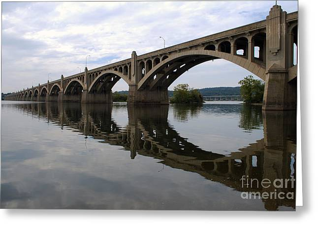 Reflections Of A Bridge Greeting Card by Scott D Welch