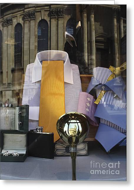 Shirt And Tie Greeting Cards - Reflections of a Gentlemans Tailor Greeting Card by Terri  Waters