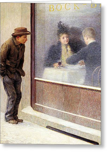 Impoverished Greeting Cards - Reflections of a Hungry Man or Social Contrasts Greeting Card by Emilio Longoni