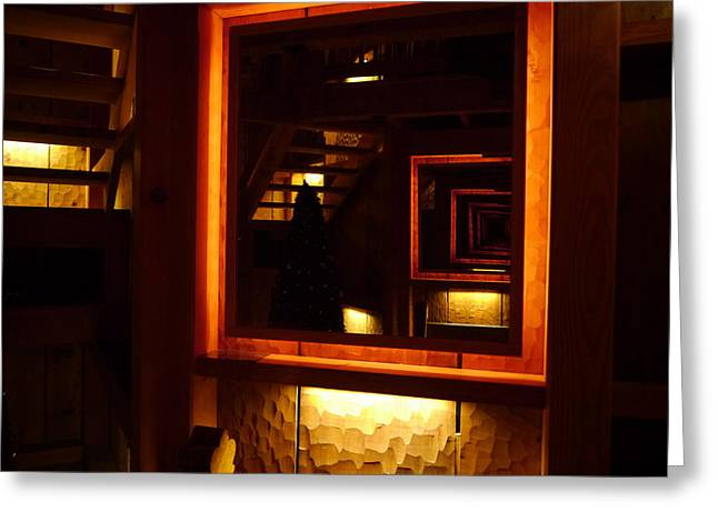 Glass Reflecting Greeting Cards - Reflections of a Wooden House Greeting Card by Richard Reeve
