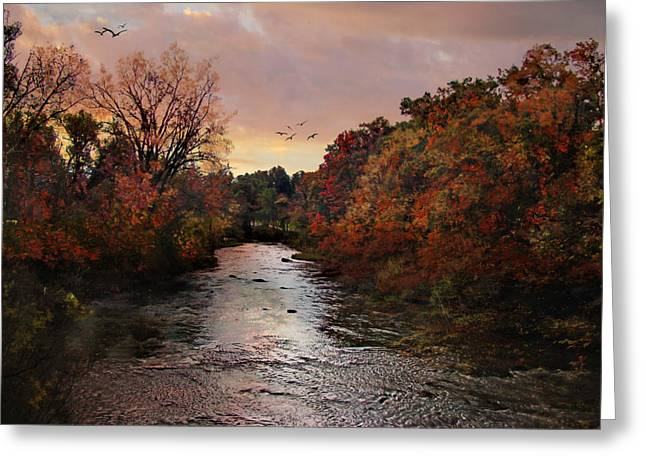 Autumn Prints Greeting Cards - Reflections of an Autumn Day Greeting Card by Lianne Schneider