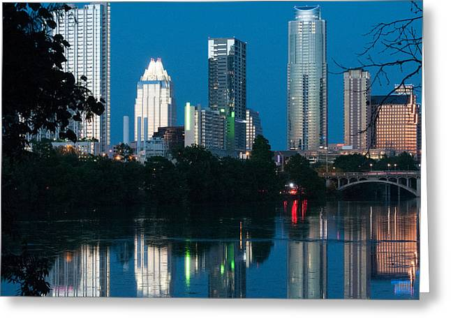 Austin At Night Greeting Cards - Reflections of Austin Skyline in Lady Bird Lake at night 01 Greeting Card by Jeff Kauffman
