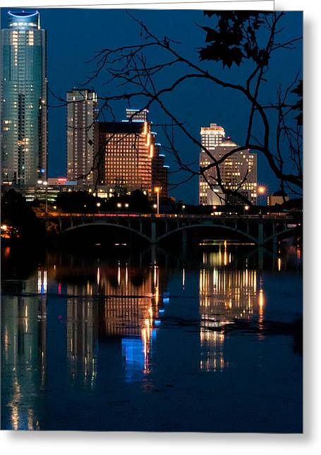 Austin At Night Greeting Cards - Reflections of Austin Skyline in Lady Bird Lake at night 02 Greeting Card by Jeff Kauffman
