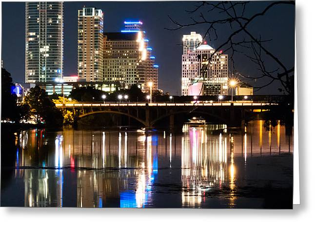 Reflections Of Austin Skyline In Lady Bird Lake At Night 04 Greeting Card by Jeff Kauffman