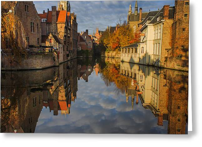 Unesco Greeting Cards - Reflections of Bruges Greeting Card by Chris Fletcher