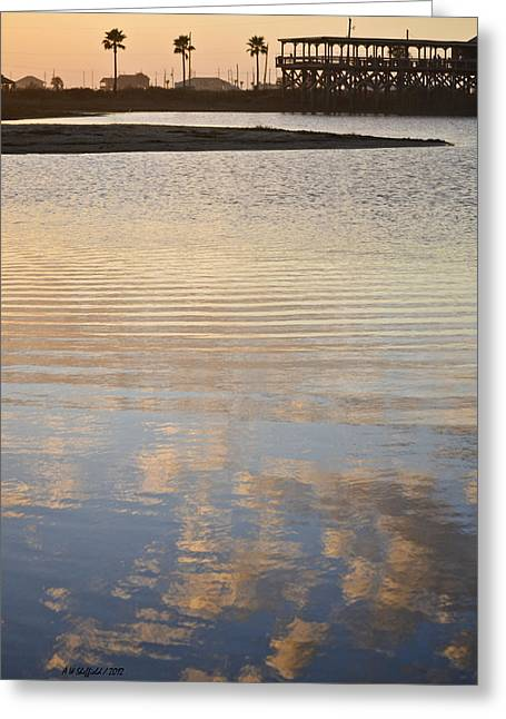 Galveston Greeting Cards - Reflections of Dusk Greeting Card by Allen Sheffield