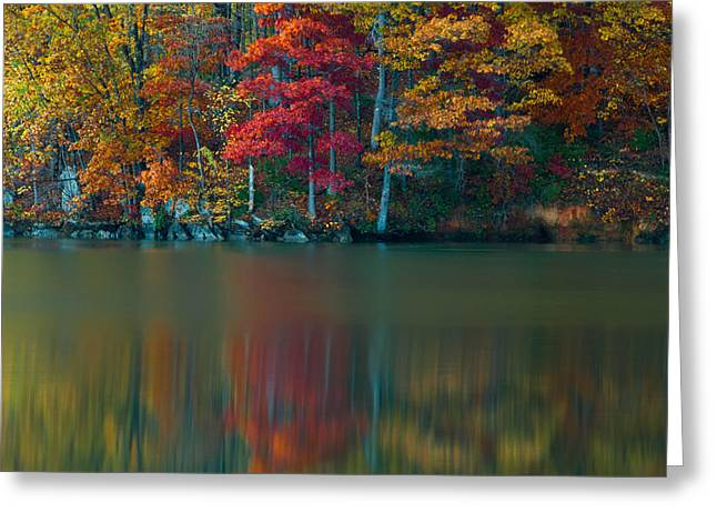 Trees Reflecting In Water Greeting Cards - Reflections of Fall Greeting Card by Griffeys Sunshine Photography