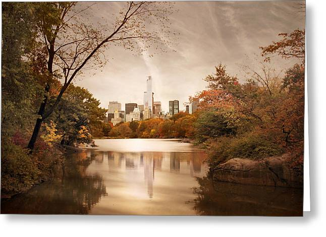 City Buildings Digital Greeting Cards - Reflections of Gotham Greeting Card by Jessica Jenney