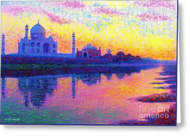 Taj Mahal,reflections Of India Greeting Card by Jane Small