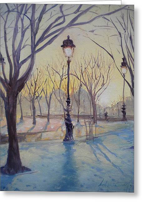 Invalides Greeting Cards - Reflections Of Lamp Post Dome Church, 2010 Oil On Canvas Greeting Card by Antonia Myatt