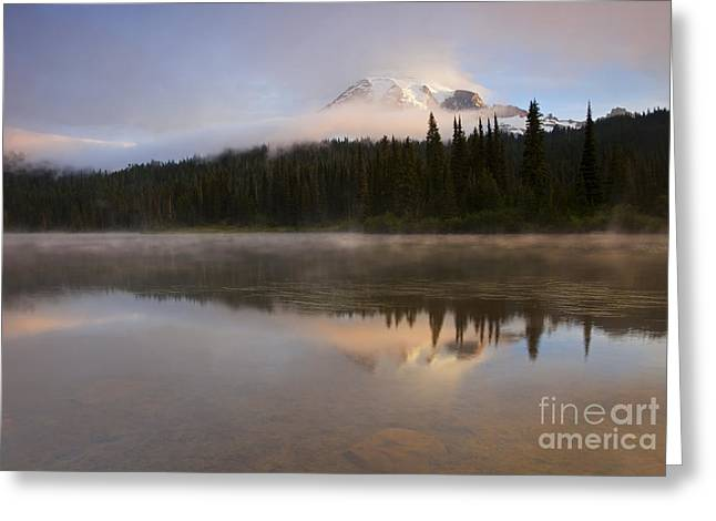 Mt Rainier Greeting Cards - Reflections of Majesty Greeting Card by Mike  Dawson