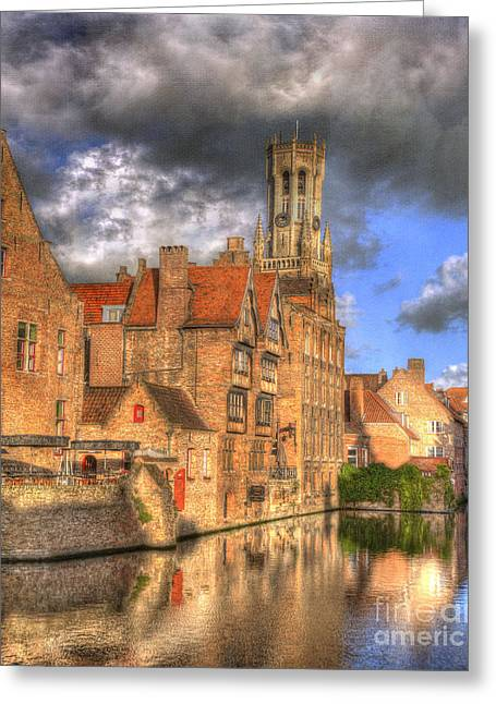 Bruges Greeting Cards - Reflections of Medieval Buildings Greeting Card by Juli Scalzi