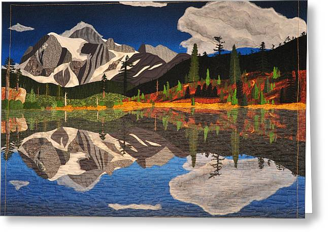 Pond Tapestries - Textiles Greeting Cards - Reflections of Mt.Shuksan Greeting Card by Jo Baner