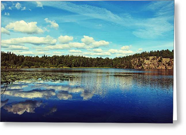 Nature. Clouds Greeting Cards - Reflections of nature Greeting Card by Nicklas Gustafsson