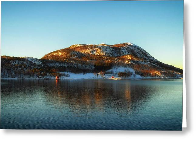 Norway Harbor Greeting Cards - Reflections of Norway Greeting Card by Mountain Dreams