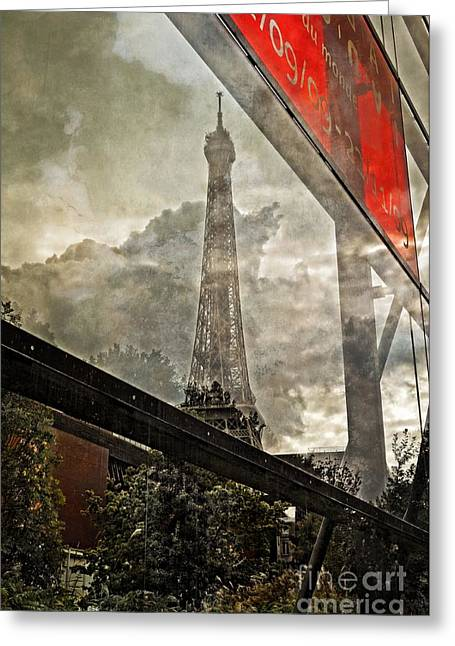 Reflections Of Paris Greeting Card by Mary Machare