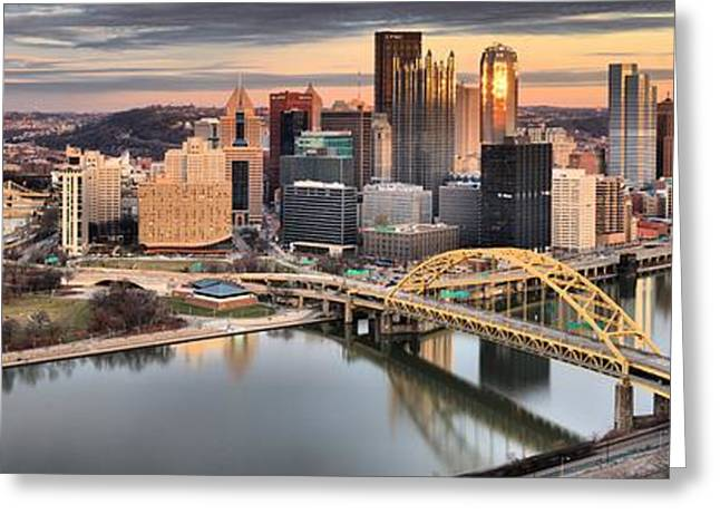 City Of Champions Greeting Cards - Reflections Of Pittsburgh Pennsylvania Greeting Card by Adam Jewell