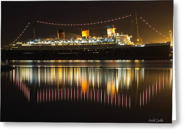 Ocean Art Photography Greeting Cards - Reflections Of Queen Mary Greeting Card by Heidi Smith