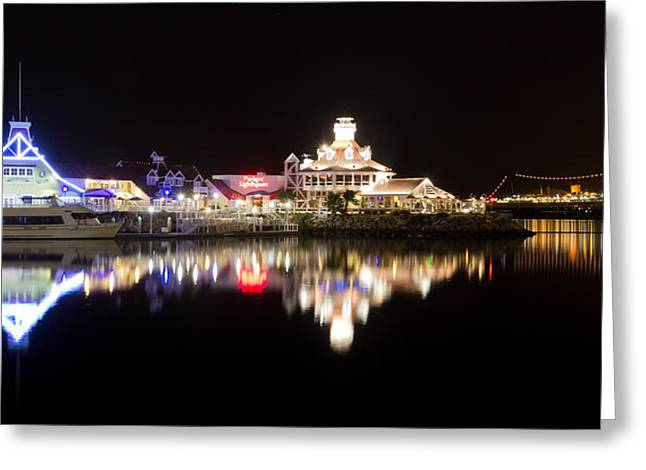 Editorial Greeting Cards - Reflections Of Rainbow Harbor Greeting Card by Heidi Smith