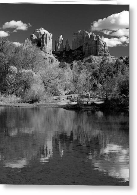 Red Rock Crossing Photographs Greeting Cards - Reflections of Sedona Black and White Greeting Card by Joshua House