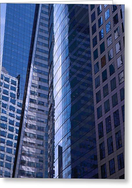 Glass Reflecting Greeting Cards - Reflections of skyscrapers in New York City Greeting Card by Wout Kok