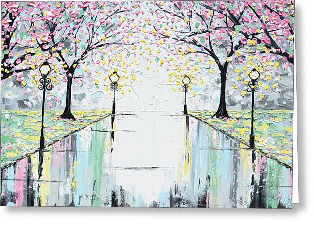 Artist Christine Krainock Greeting Cards - Reflections of Springtime - Pink Cherry Trees Greeting Card by Christine Krainock