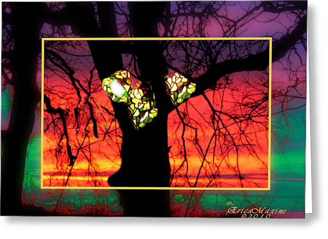 Tn Digital Art Greeting Cards - Reflections of Stained Glass at Sunrise Greeting Card by EricaMaxine  Price
