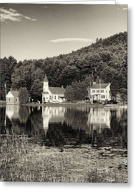 Joshua House Greeting Cards - Reflections of the Day Black and White Greeting Card by Joshua House
