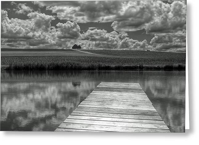 Bank; Clouds; Hills Greeting Cards - Reflections of the Farm Greeting Card by Mountain Dreams