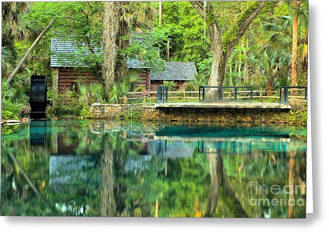 Spring Mill Greeting Cards - Reflections Of The Juniper Springs Mill House Greeting Card by Adam Jewell
