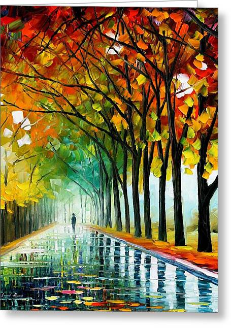 Recently Sold -  - Popular Art Greeting Cards - Reflections Of The Morning - PALETTE KNIFE Oil Painting On Canvas By Leonid Afremov Greeting Card by Leonid Afremov