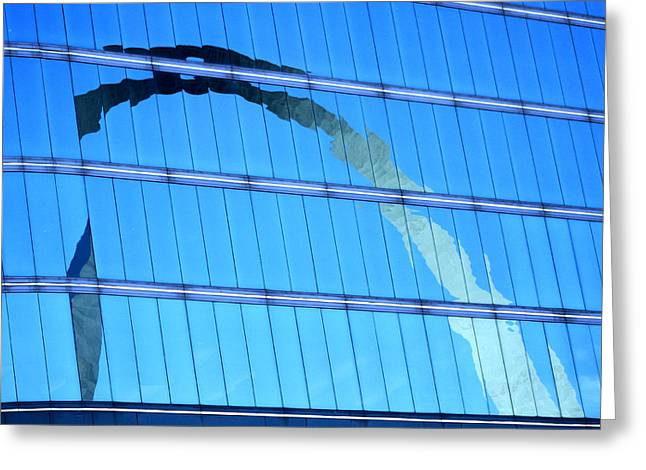 Stainless Steel Greeting Cards - Reflections of the St Louis Arch Greeting Card by Garry McMichael