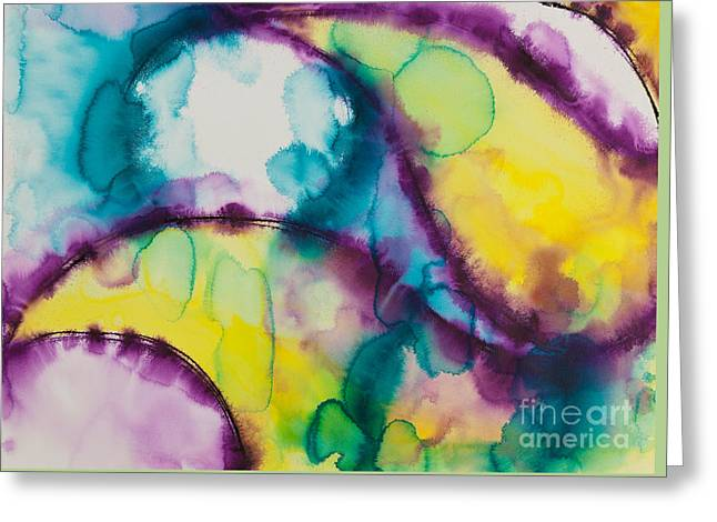 Gouache Abstract Greeting Cards - Reflections of the Universe Series No 1390 Greeting Card by Ilisa  Millermoon