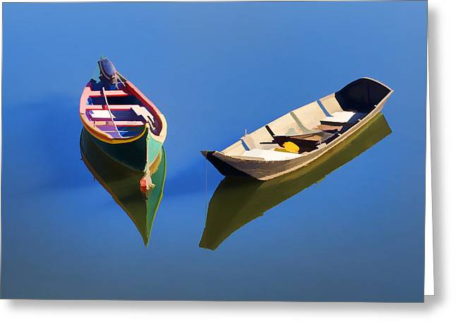 Shadow World Photography Greeting Cards - Reflections of Two Canoes Greeting Card by David Letts