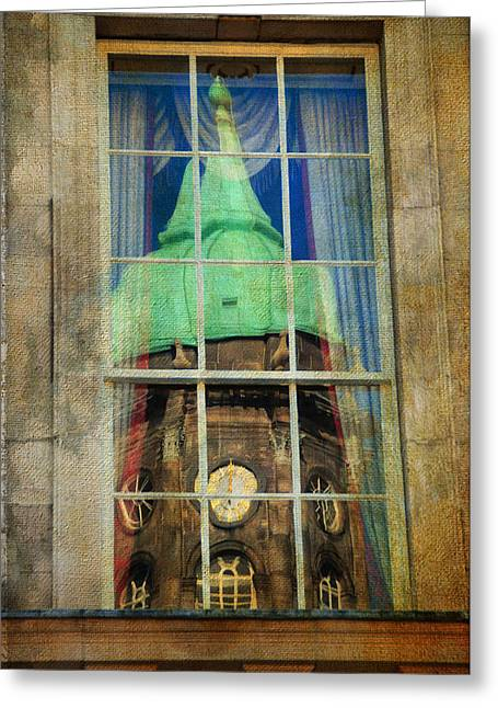 Watch Tower Greeting Cards - Reflections of Watch Tower of Dublin Castle. Streets of Dublin. Painting Collection Greeting Card by Jenny Rainbow