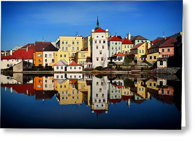 Hradec Greeting Cards - Reflections of Hradec Kralove Greeting Card by Tereza Flachova