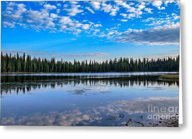 Haybales Greeting Cards - Reflections On Anthony Lake Greeting Card by Robert Bales