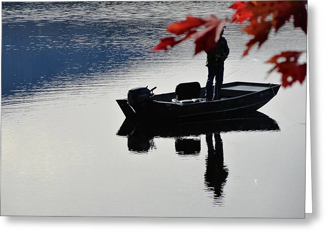 Fall Scenes Greeting Cards - Reflections on Fishing Greeting Card by Mike Breau