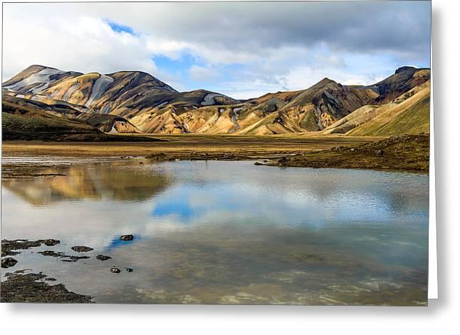Reflections On Landmannalaugar Greeting Card by Peta Thames