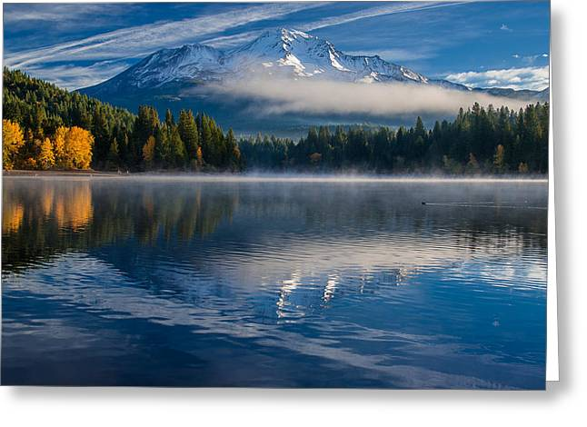 Reflections On Snow Greeting Cards - Reflections on Siskiyou Lake Greeting Card by Greg Nyquist