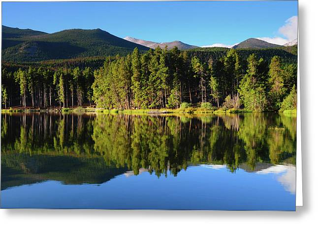 Reflections On Sprague Lake, Rocky Greeting Card by Michel Hersen