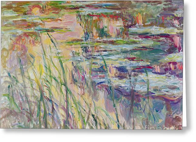 Blur Paintings Greeting Cards - Reflections on the Water Greeting Card by Claude Monet
