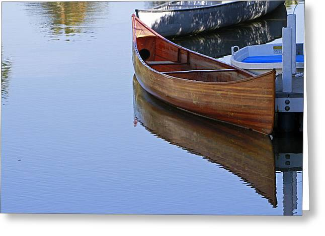 Canoe Pyrography Greeting Cards - Reflections  Greeting Card by Shoal Hollingsworth